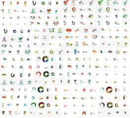 Mega set of geomeric lettering company logos
