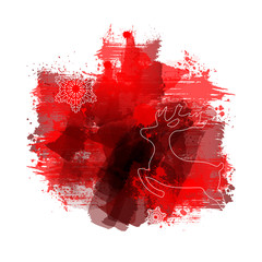 Weihnachtskarte | Abstract Red Watercolour Painting