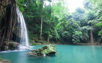Deep forest waterfall at Erawan waterfall National Park Kanchanaburi, Thailand