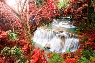 Deep forest waterfall in autumn scene at Huay Mae Kamin waterfall, Kanchanaburi, Thailand