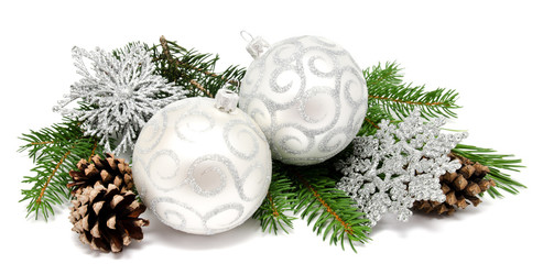 Christmas decoration balls with fir cones