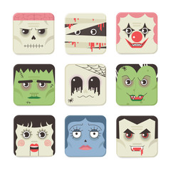Set Trick or Treat Poster Cards in vector.
