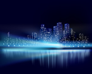 City view at night. Vector illustration