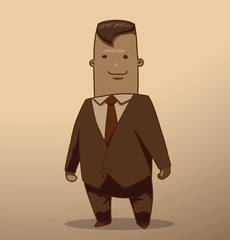 Vector businessman with dark hair. Cartoon image of a businessman with dark hair in suit and tie on a light beige background. Image made in brown tones.