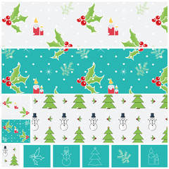 Mistletoe,Candles,Pine Branch,Christmas Tree and Snowman Patterns