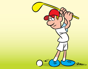The illustration shows a man on a green lawn, who plays golf. Illustration done in cartoon style, there is a place for the text block.