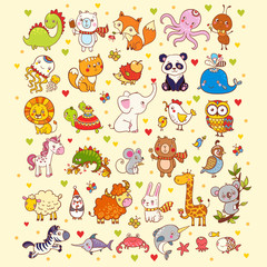 Cute vector set of animals.
