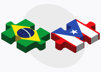 Brazil and Puerto Rico Flags