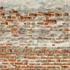 Old Red Brick Wall With Weathered White Plaster Layer Texture