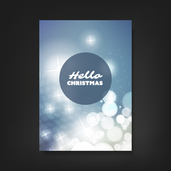 Hello Christmas - Flyer, Card or Cover Design with Sparkling Patter Background - Corporate Identity, Christmas, New Year or Ad Design Template