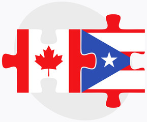Canada and Puerto Rico Flags