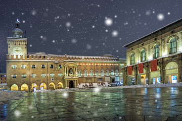 Panoramic view of Bologna with snow