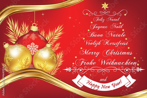 business new year greeting card in many languages merry christmas in german english - Italian For Merry Christmas