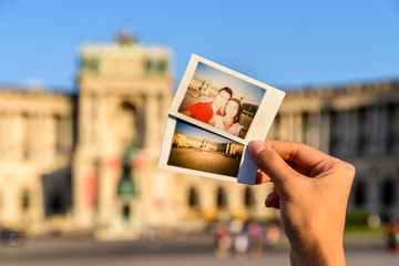 Instant Photos Of Happy Couple At Hofburg Palace In Vienna