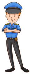 Policeman in uniform standing alone