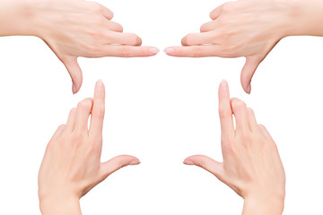 Woman`s hands as frame