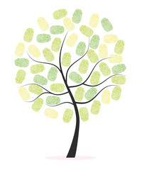 Made of finger green print tree vector background