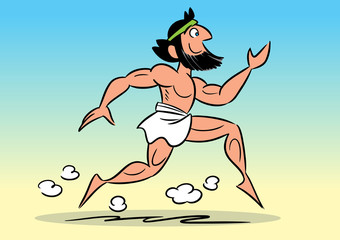 The illustration shows running the Greek marathoner in a cartoon style.