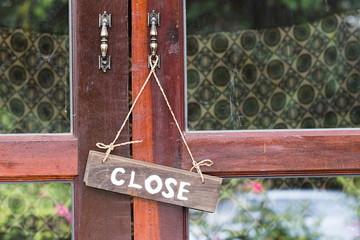 Sign wood door Close Open