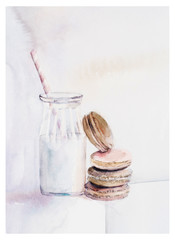 Watercolor chocolate taste french macaroons, Bottle with milk. Beautiful vintage card. Watercolor hand drawn illustration