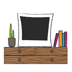 Retro photo frame on wooden shelf.