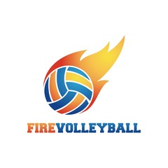Fire Volleyball Design Logo Vector - Illustration