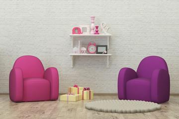 kids room interior 3d render image, pouf, presents