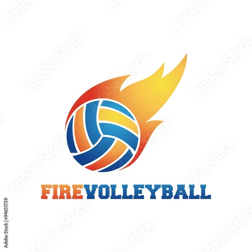 Volleyball logos fire