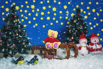 Bear Santa riding on the sled