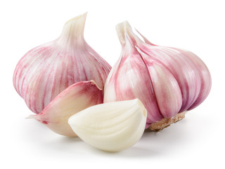 Garlic closeup isolated on white background. With clipping path. Wall mural