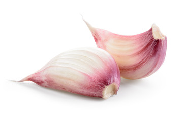 Garlic cloves isolated on white background. With clipping path.