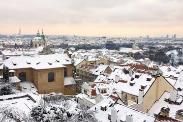 Snow in Prague City, Czech Republic