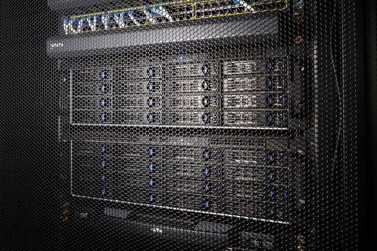 Computer Server in rack server close-up
