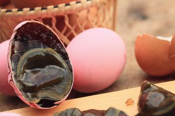 pink pickled preserved egg