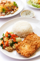 Thai Food, rice, mix vegetables and fried fish.