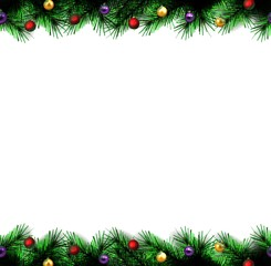 festive Christmas tree. vector.  seamless border.