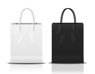 black & white shopping bag, vector Illustration