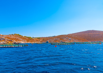 fishing farm out of the Vathi village in Kalymnos island in Greece