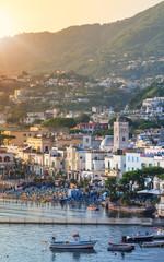 Lacco Ameno town at sunrise. Mediterranean Sea