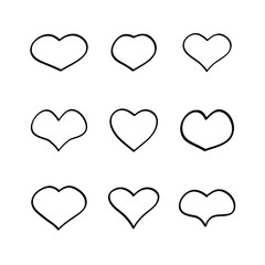 Vector main heart shapes set