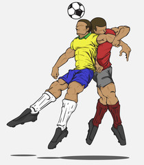 Vector illustration two players fighting for the ball