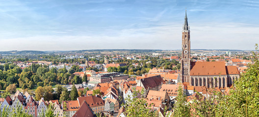 Panoramic aerial view of Landshut with St. Martin Church, Bavaria, Germany Wall mural