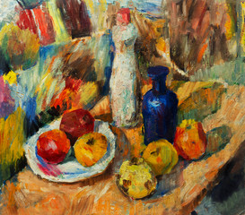 Beautiful Original Oil Painting  of Still Life vase apples bright colors Red Orange Green On Canvas
