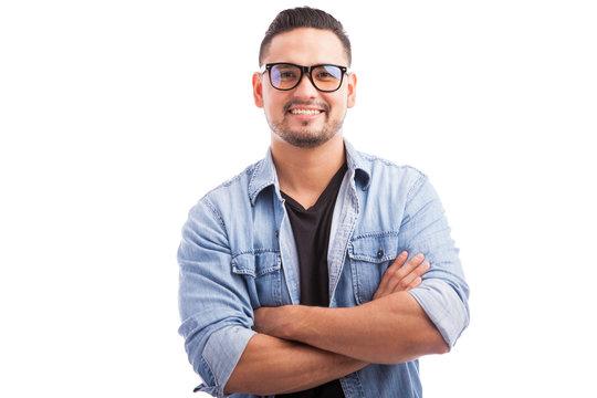 Latin hipster young man smiling