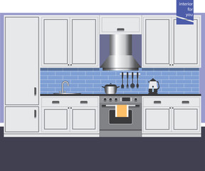 graphic kitchen interior card