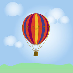 bright. colorful hot air balloon in the blue sky with clouds