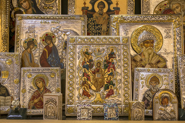 Hand made religion icons representing Virgin Mary and other saints