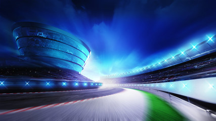 race track bended road with stands and spotlights