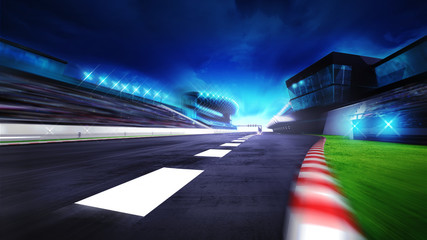 Acrylic Prints F1 view of the start finish line and paddock on the racetrack