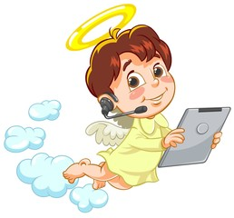 Vector illustration of little angel holding Tablet